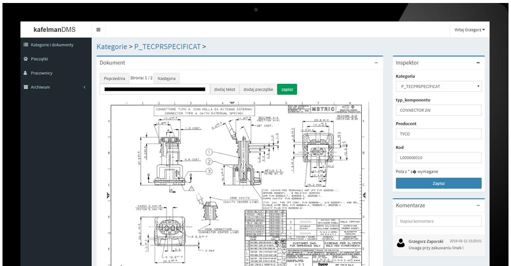 ekran oprogramowania kafelman CRM